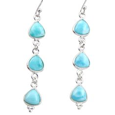 925 sterling silver 11.93cts natural blue larimar dangle earrings jewelry r38196