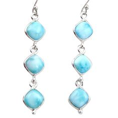 925 sterling silver 13.69cts natural blue larimar dangle earrings jewelry r38199