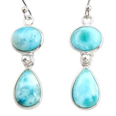 925 sterling silver 13.02cts natural blue larimar dangle earrings jewelry r38204