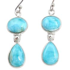 925 sterling silver 14.08cts natural blue larimar dangle earrings jewelry r38218