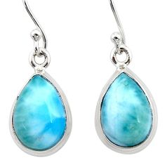 925 sterling silver 9.49cts natural blue larimar dangle earrings jewelry r52108