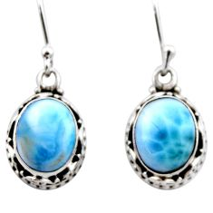 925 sterling silver 7.97cts natural blue larimar dangle earrings jewelry r53064