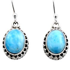 925 sterling silver 8.44cts natural blue larimar dangle earrings jewelry r53068