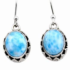 925 sterling silver 8.16cts natural blue larimar dangle earrings jewelry r53074