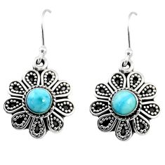 925 sterling silver 1.41cts natural blue larimar dangle earrings jewelry r54012