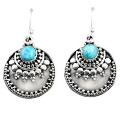 925 sterling silver 1.69cts natural blue larimar dangle earrings jewelry r54029