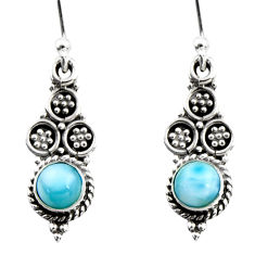 925 sterling silver 1.45cts natural blue larimar dangle earrings jewelry r54044