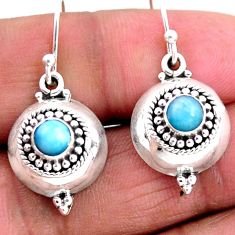 925 sterling silver 1.26cts natural blue larimar dangle earrings jewelry r54104