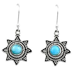 925 sterling silver 0.96cts natural blue larimar dangle earrings jewelry r54204