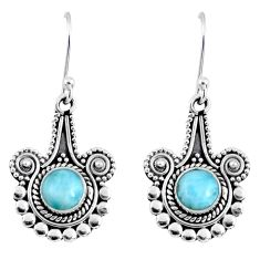 925 sterling silver 2.46cts natural blue larimar dangle earrings jewelry r55337