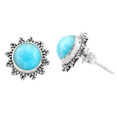 925 sterling silver 5.92cts natural blue larimar stud earrings jewelry r67029