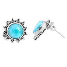 925 sterling silver 5.87cts natural blue larimar stud earrings jewelry r67034
