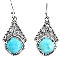 925 sterling silver 6.64cts natural blue larimar dangle earrings jewelry r67089