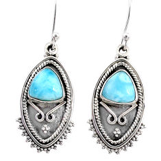 925 sterling silver 5.76cts natural blue larimar dangle earrings jewelry r67239