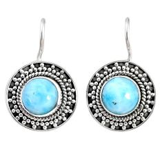 925 sterling silver 5.52cts natural blue larimar dangle earrings jewelry r67248