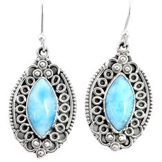 925 sterling silver 11.46cts natural blue larimar dangle earrings jewelry r67257