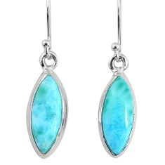 925 sterling silver 10.58cts natural blue larimar dangle handmade earring r83807