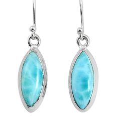 925 sterling silver 10.08cts natural blue larimar dangle handmade earring r83812
