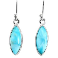 925 sterling silver 9.72cts natural blue larimar dangle handmade earring r83816