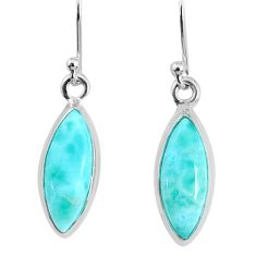 925 sterling silver 10.58cts natural blue larimar dangle handmade earring r83820