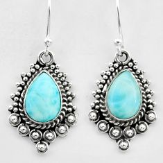 925 sterling silver 4.90cts natural blue larimar dangle earrings jewelry t26993