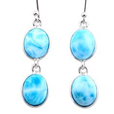 925 sterling silver 13.13cts natural blue larimar dangle earrings jewelry t44624