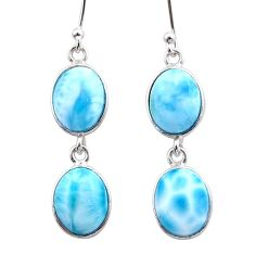 925 sterling silver 13.13cts natural blue larimar dangle earrings jewelry t44627