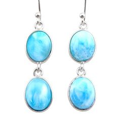 925 sterling silver 12.52cts natural blue larimar dangle earrings jewelry t44631