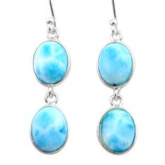 925 sterling silver 11.28cts natural blue larimar dangle earrings jewelry t44634