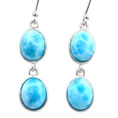 925 sterling silver 12.57cts natural blue larimar dangle earrings jewelry t44637