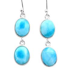 925 sterling silver 12.54cts natural blue larimar dangle earrings jewelry t44640