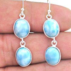 925 silver 11.90cts natural blue larimar handmade dangle earrings t44740
