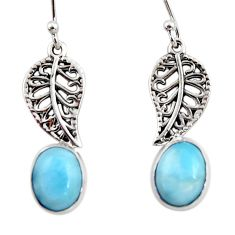 925 sterling silver 5.54cts natural blue larimar deltoid leaf earrings r48252
