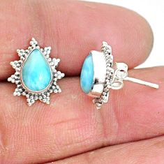 925 sterling silver 4.25cts natural blue larimar stud earrings jewelry t3847