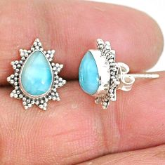925 sterling silver 4.34cts natural blue larimar stud earrings jewelry t3851