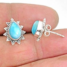 925 sterling silver 4.04cts natural blue larimar stud earrings jewelry t3855
