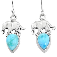 925 sterling silver 5.12cts natural blue larimar elephant earrings r72423