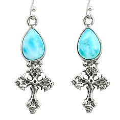 925 sterling silver 5.10cts natural blue larimar holy cross earrings r72409
