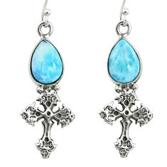 925 sterling silver 5.52cts natural blue larimar holy cross earrings r72430