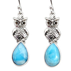 925 sterling silver 6.10cts natural blue larimar owl earrings jewelry r48256