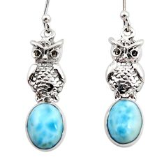 925 sterling silver 5.96cts natural blue larimar owl earrings jewelry r48264