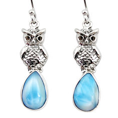 925 sterling silver 7.04cts natural blue larimar owl earrings jewelry r48276