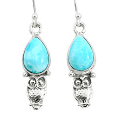 925 sterling silver 5.06cts natural blue larimar owl earrings jewelry r72412