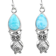 925 sterling silver 5.79cts natural blue larimar owl earrings jewelry r72426