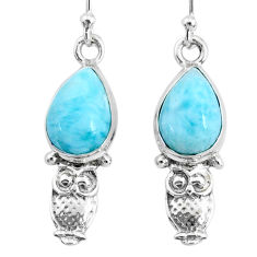 925 sterling silver 4.67cts natural blue larimar owl earrings jewelry r72579