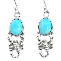 925 sterling silver 5.14cts natural blue larimar scorpion earrings r72415