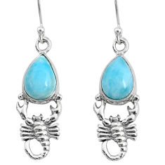 925 sterling silver 5.28cts natural blue larimar scorpion earrings r72573