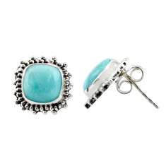 925 sterling silver 6.61cts natural blue larimar stud earrings jewelry r36608