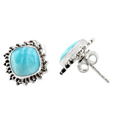 925 sterling silver 6.61cts natural blue larimar stud earrings jewelry r36612