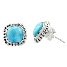 925 sterling silver 7.24cts natural blue larimar stud earrings jewelry r36616